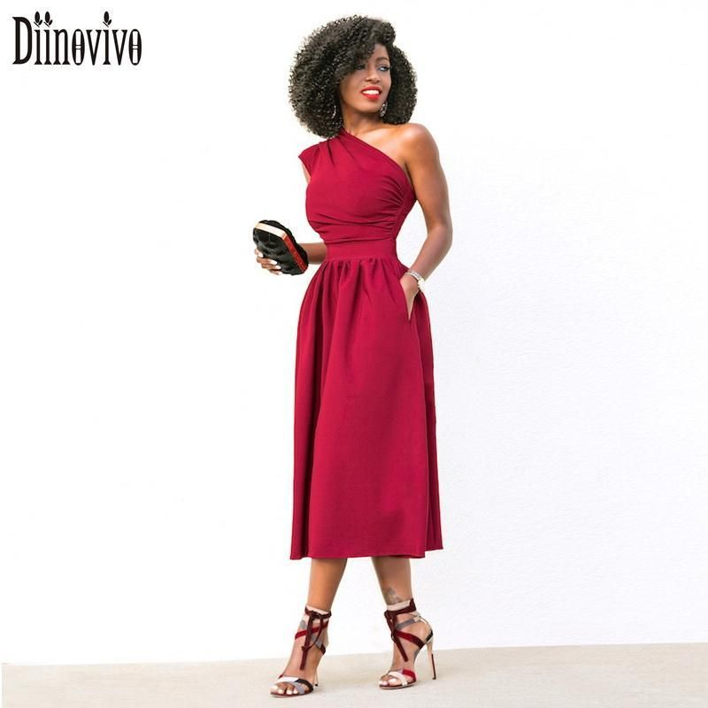 One shoulder midi dress - Sexy women dress, Midi dress party, Womens dresses, Evening party dress, Red summer dresses, Draped midi dresses - one shoulder midi dress  by Online Exclusive  $ 43 50   Dress  from RK Collections Boutique   Gender WomenPattern Type SolidDresses Length MidCalfBrand Name DiinovivoWaistline EmpireStyle Office LadySeason SpringDecoration PocketsNeckline AsymmetricalMaterial Polyester,SpandexModel Number D301Sleeve Style OneShoulderSleeve Length(cm) SleevelessSilhouette ALineSize S M L XLSeason Autumn,Spring,SummerColor Black,Blue,Redstyle New Arrival 2018 Party Dress Online Exclusive  allow 14 days for delivery  Item is not available in store  Use the chat now button to request a size chart if not listed  Bust measurement is underarm seam to seam  If you measure yourself, and you want don't want a bodycon fit add extra cm's to your measurement when selecting your size (fitted comfy, loose, baggy, order size for the fit you are wanting)  1 inch   2 54 centimeters