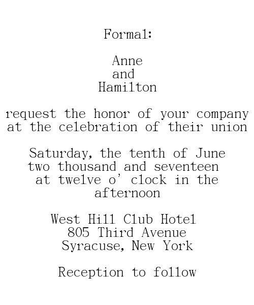 Formal Wedding Invitations Wording