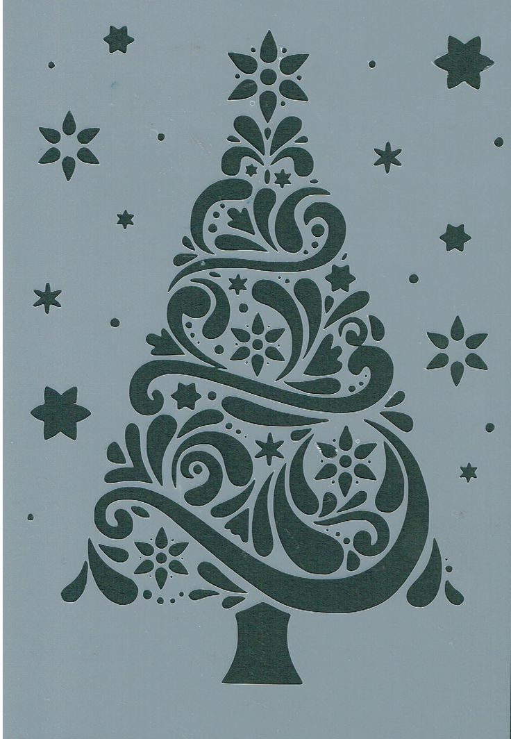 Christmas Tree Amp Stars Mylar Reuseable Stencil A5