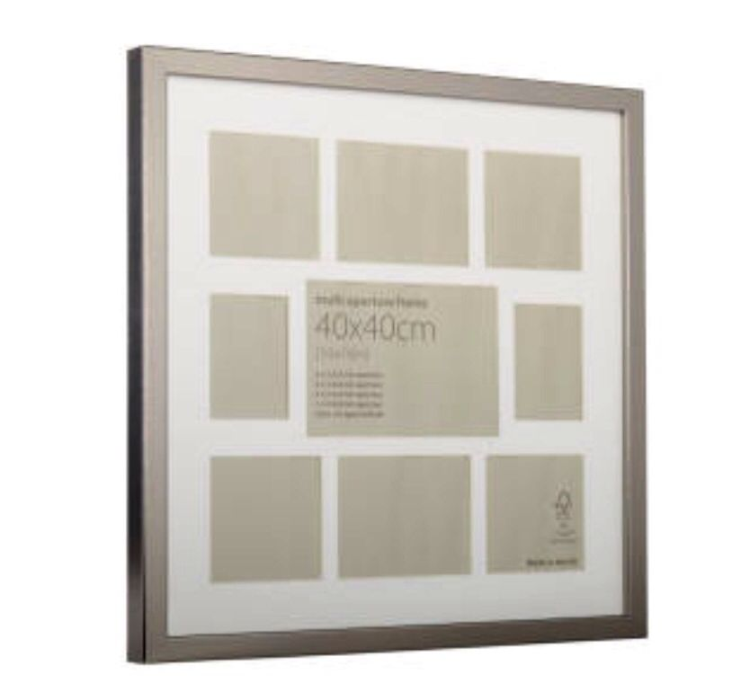 Metallic Silver Multi Aperture Frame 40cm X 40cm Aperture Frames Multi Photos Frame Frame