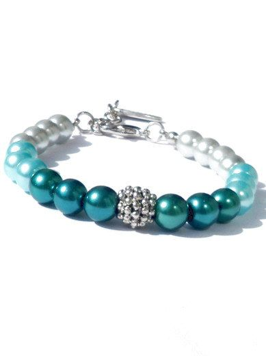 Bracelet glass pearls in aqaumarine teal and silver door PerElle