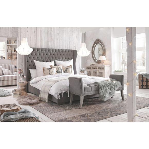 Bett in Grau von AMBIA HOME - macht Ihr Schlafzimmer zum Palast - schlafzimmer ideen grau braun