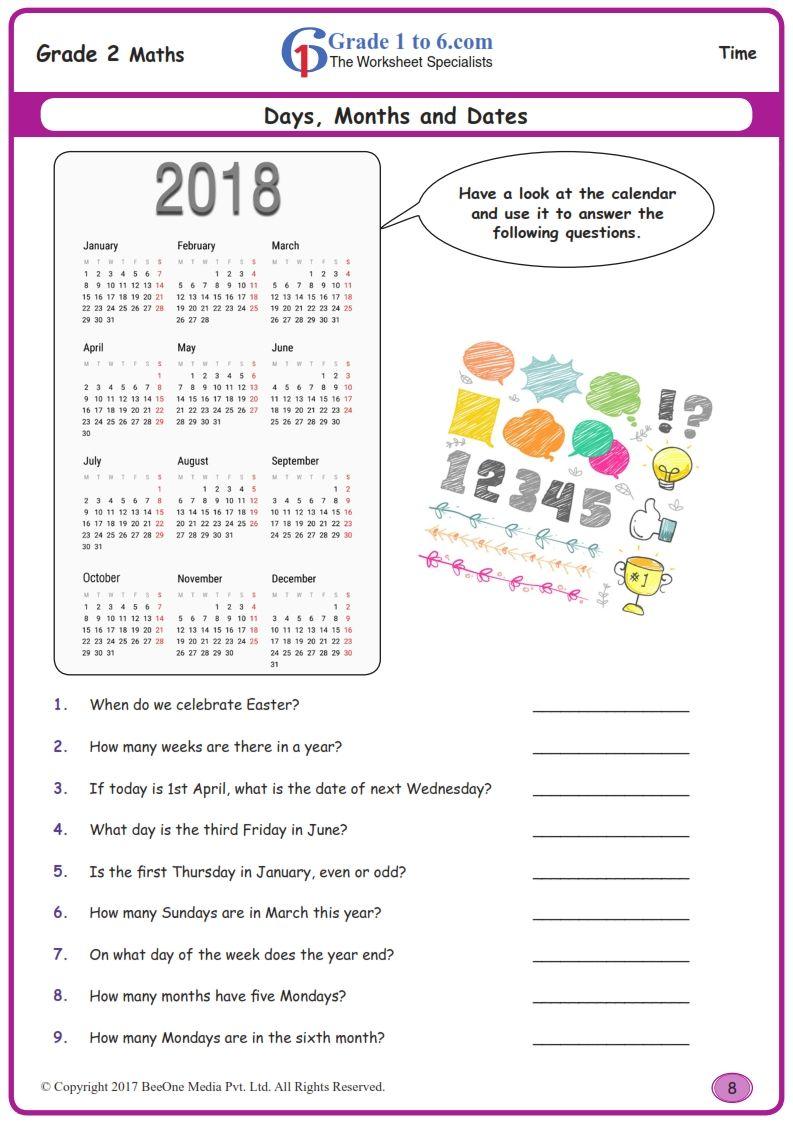 Worksheet Grade 2 Math Days Of Months And Dates In 2020 2nd Grade Math Worksheets Free Math Worksheets 2nd Grade Math
