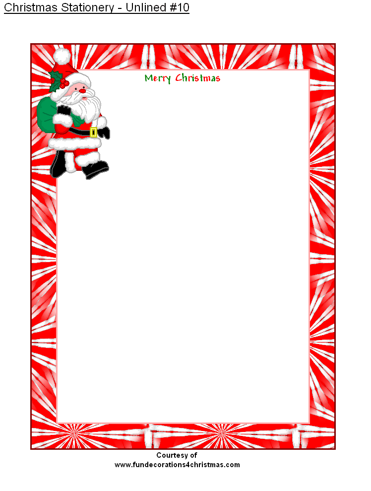 free printable unlined christmas stationery
