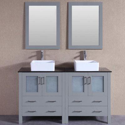 Breakwater Bay Mallette 59 Double Bathroom Vanity Set With Mirror