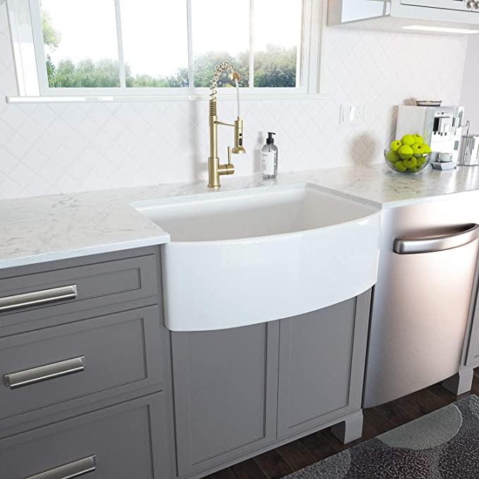 Lordear 30 inch White Farmhouse Kitchen Sink Fireclay