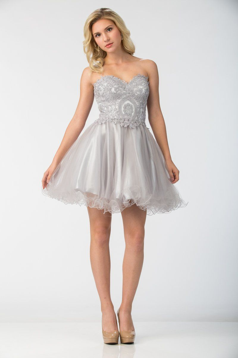 609680358f Lace Applique Short Strapless Dress with Ruffled Skirt by Star Box 6413