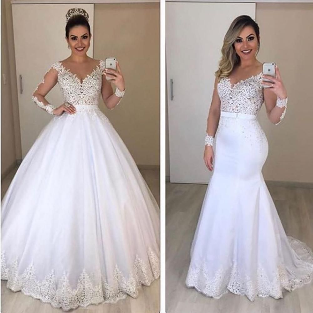 Detachable Wedding Dress 2020 Deep V Neck Long Sleeve Lace
