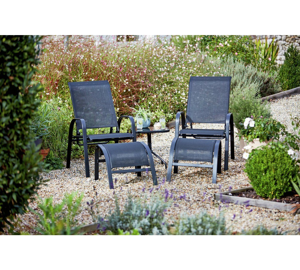 Argos Sicily Garden Table And Chairs: Home Sicily 2 Seater Metal Bistro Set With Footrests