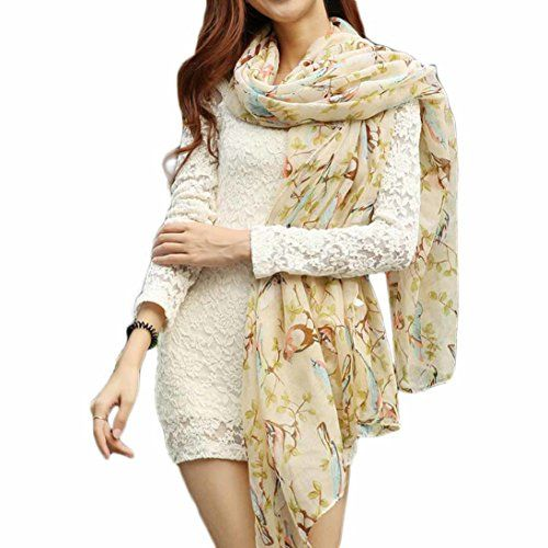 HP95TMHotWomen Fresh Style Magpies Bough Shawl Scarf Fashion Four Seasons Scarves A >>> More info could be found at the image url.