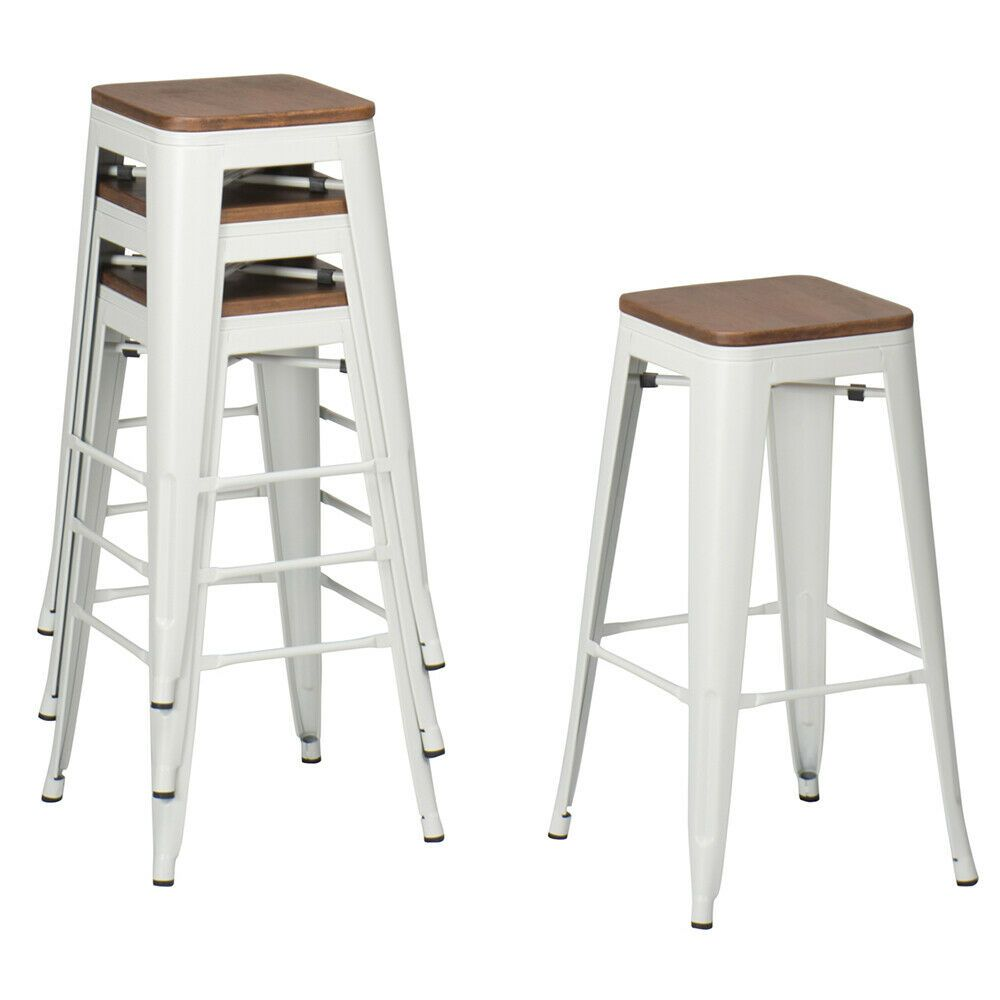 4 Pcs 26 White Metal Barstools Counter Height Bar Stools Chairs W Wooden Seats 142 49 Counter Stoo In 2020 Backless Bar Stools Bar Stools Metal Bar Stools Kitchen