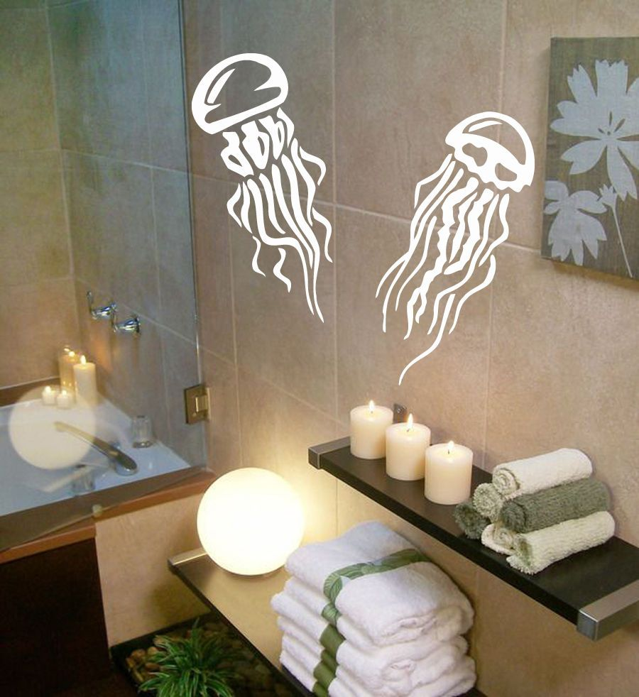 Bathroom wall art sea - Wall Decals Sea Ocean Jellyfish Design Vinyl Sticker Art Mural Bath Decor Kg685