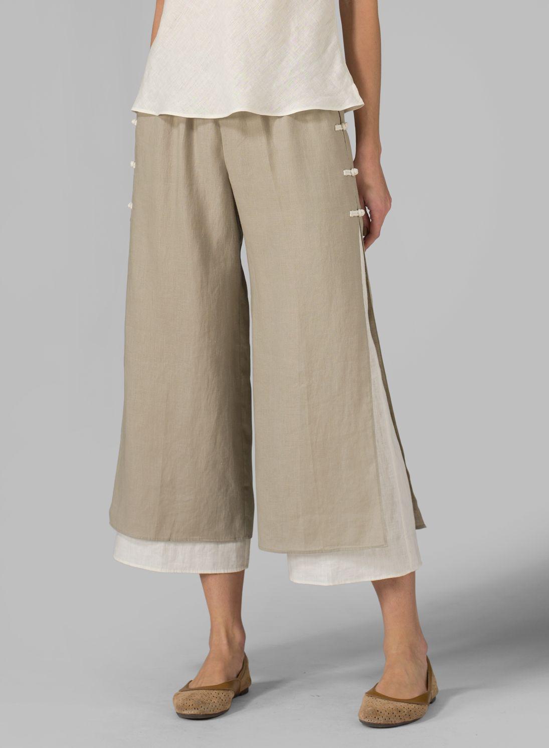 Plus Clothing Linen Double Layer Pants Бохо