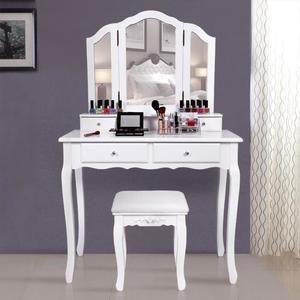 Superbe Grande Coiffeuse Table De Maquillage Style Champetre Avec 3 Miroir 4 Tiroirs Et 1 Tabouret Rdt07w Table Maquillage Deco Chambre Rose Et Gris Coiffeuse Meuble Moderne