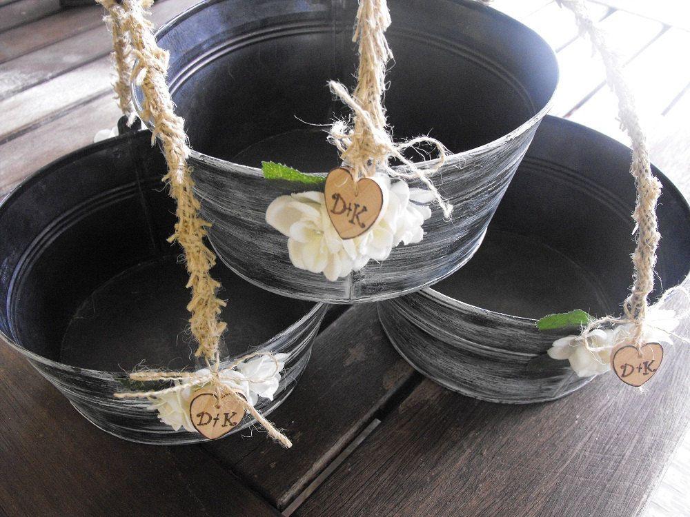 Flower Girl Basket Alternative Distressed Personalized Tin