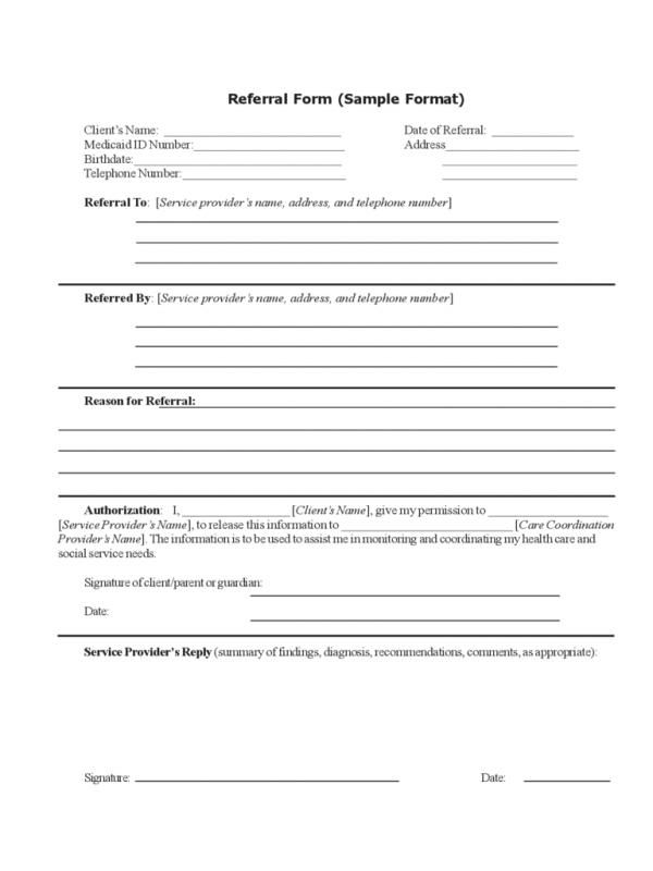 Referral Forms Template Referrals Templates Form