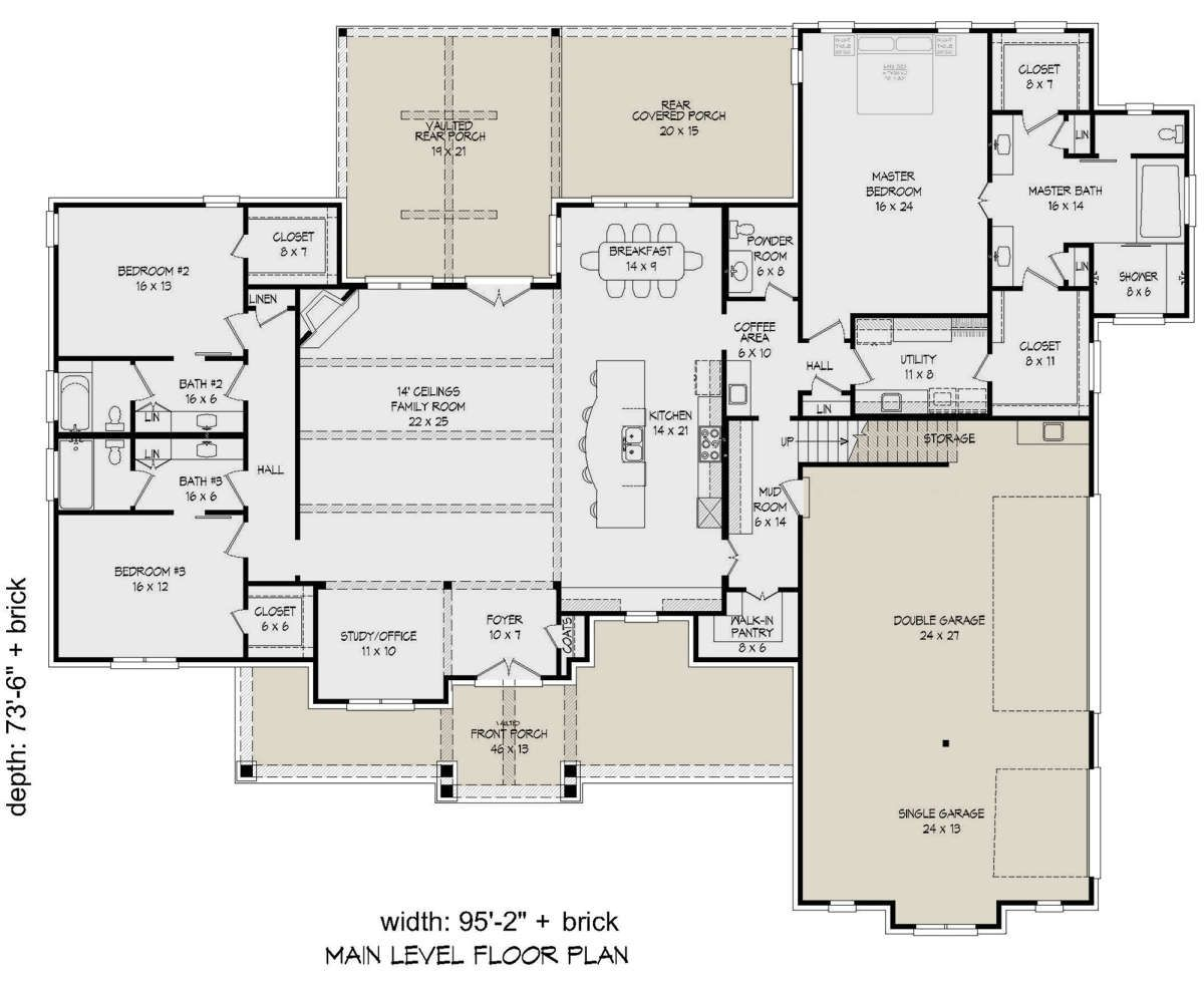 House Plan 940 00172 Ranch Plan 3 500 Square Feet 3 Bedrooms 3 5 Bathrooms House Plans Floor Plans Ranch Family House Plans