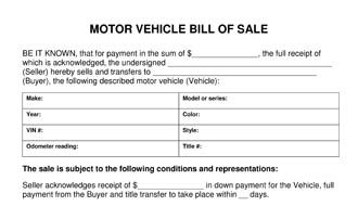 Free Printable Camper Bill Of Sale Form Free Form Generic Free