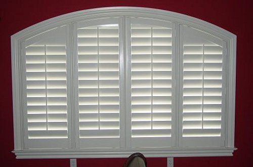 4 1 2 Inch Louver Shutters With Eyebrow Arch Framed With Curved L