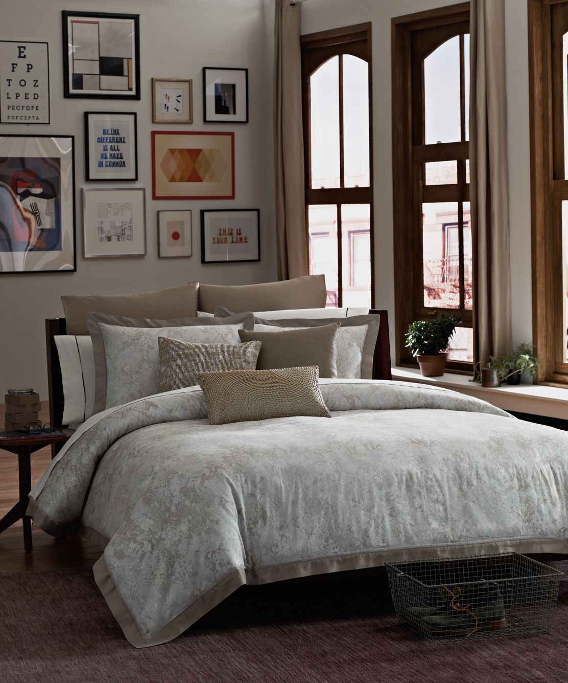 This soft Python animal print comforter brings clean, sophisticated taste to your bedroom in soft neutrals with hints of silver metallic. #bedding #KCRH