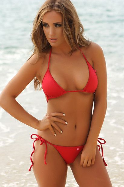 f2c07b0246 Solid Red Bikini, Laguna Triangle Top & Venice Micro Rise Scrunch Bottom