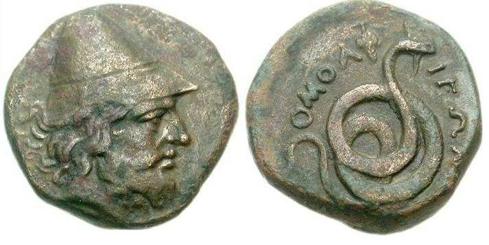 Philoktetes: The Trojan War HeroThis very rare Greek coin from the ancient city of Homolion in Thessaly shows the Trojan War hero Philoktetes wearing a pileus with a coiled serpent on the reverse along with the inscription OMOLEIΩN . It was minted circa 360 BC.Philoktetes was the son of the king of Meliboea (map) in Thessaly, and was  famous for his friendship with Herakles, whose pyre he lit. Herakles  left him his bow and arrows. Philoktetes joined the Greek forces against  Troy but, on…