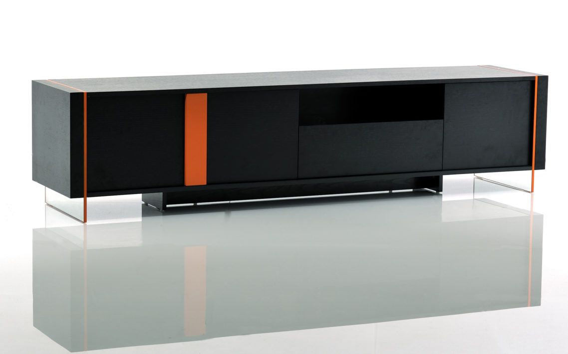 Modern contemporary tv stand cabinet design in rectangle shape with black and orange color mode home theater furniture with bdi table plus tvstands
