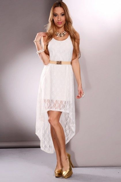hi low little white dress | White Scoop Neck Sleeveless Lace ...