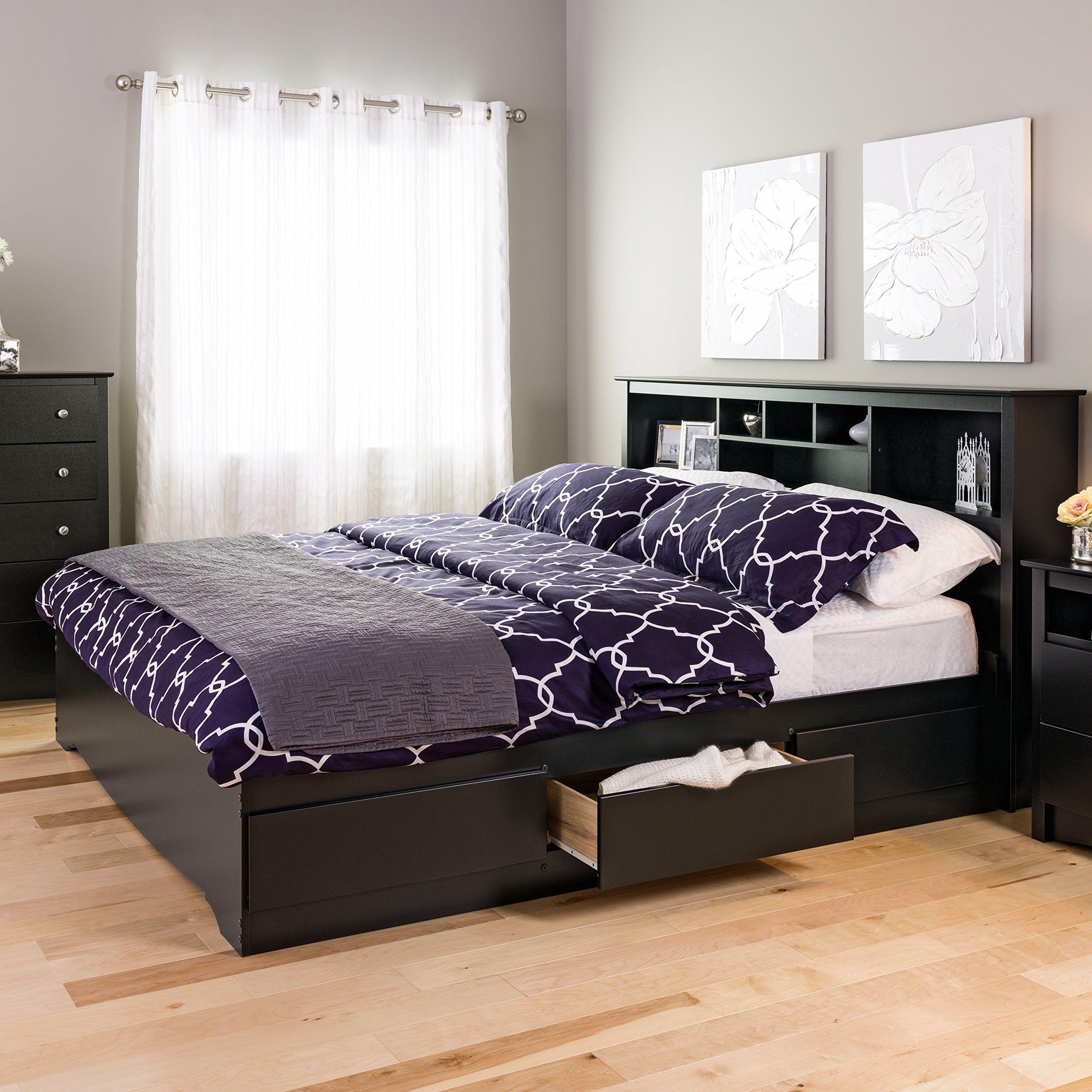 Prepac Sonoma King Platform Storage Bed Black