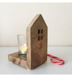Porta velas casita madera