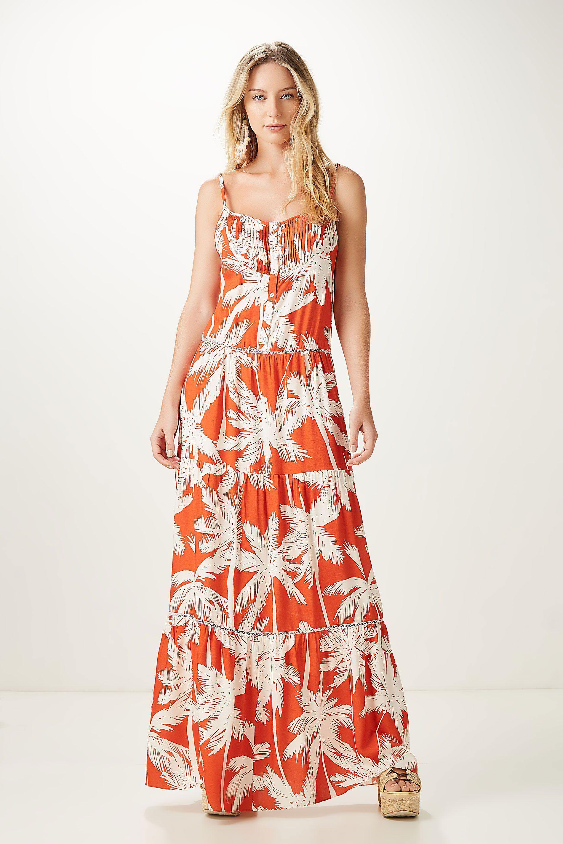 dba107ac9 vestido longo coqueiro laranja | ANIMALE | Clothing | Dresses ...