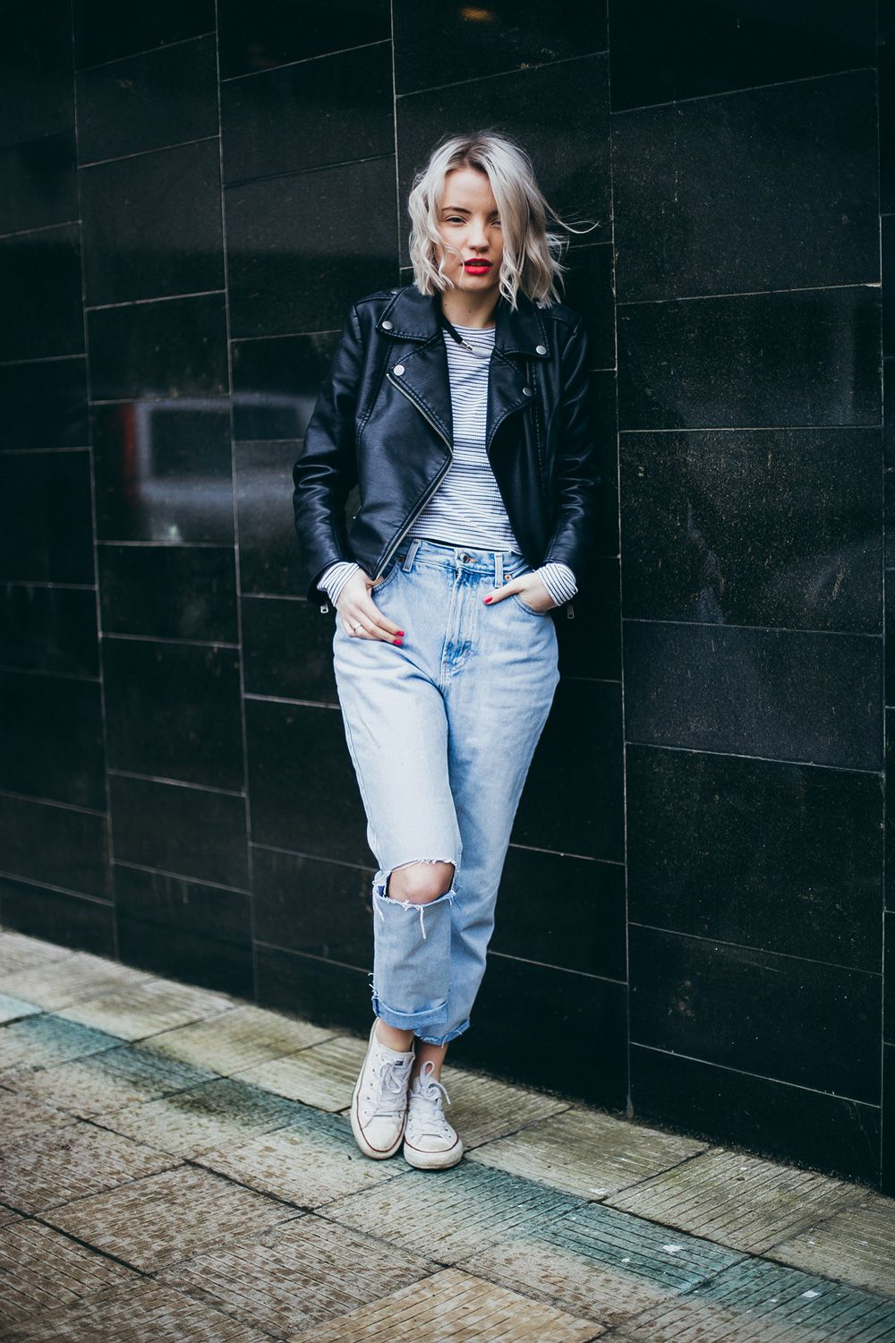 5fd278f64abc Pairing my ripped mom jeans with vegan leather jacket
