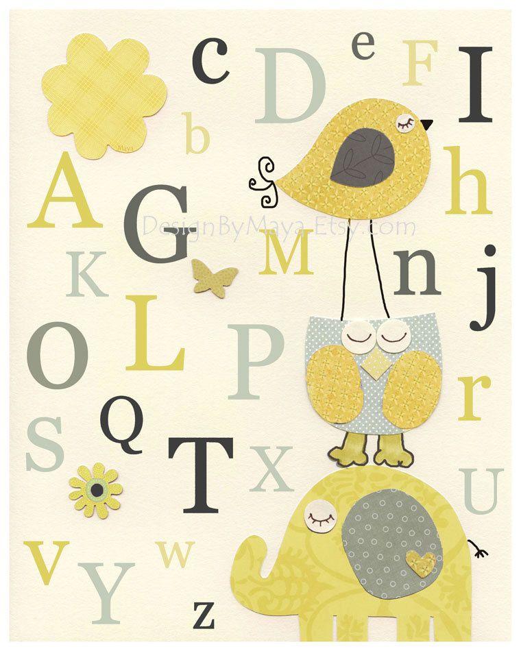Nursery Art Decor, Kids Print, abc, baby owl nursery art, baby owl ...