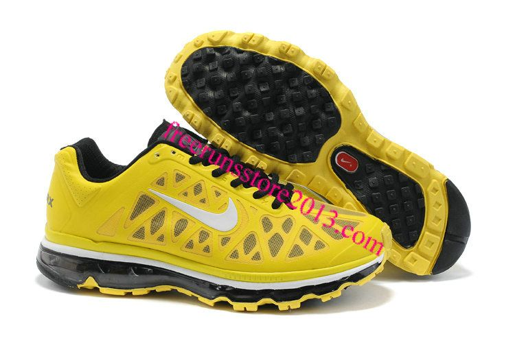 54a6bab2c010 Mens Nike Air Max 2011 Sonic Yellow White-Black Sneakers  Yellow  Womens   Sneakers