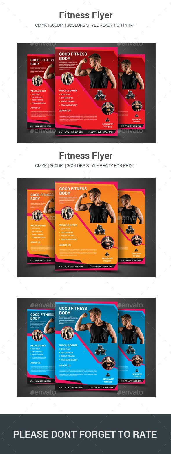 Fitness Flyer  Flyer Printing Flyer Template And Print Templates