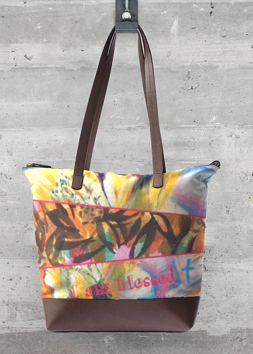 Statement Bag - Happy & Blessed Bag in Pink/Red/Yellow by VIDA Original Artist #blessingbags Statement Bag - Happy & Blessed Bag in Pink/Red/Yellow by VIDA Original Artist #blessingbags