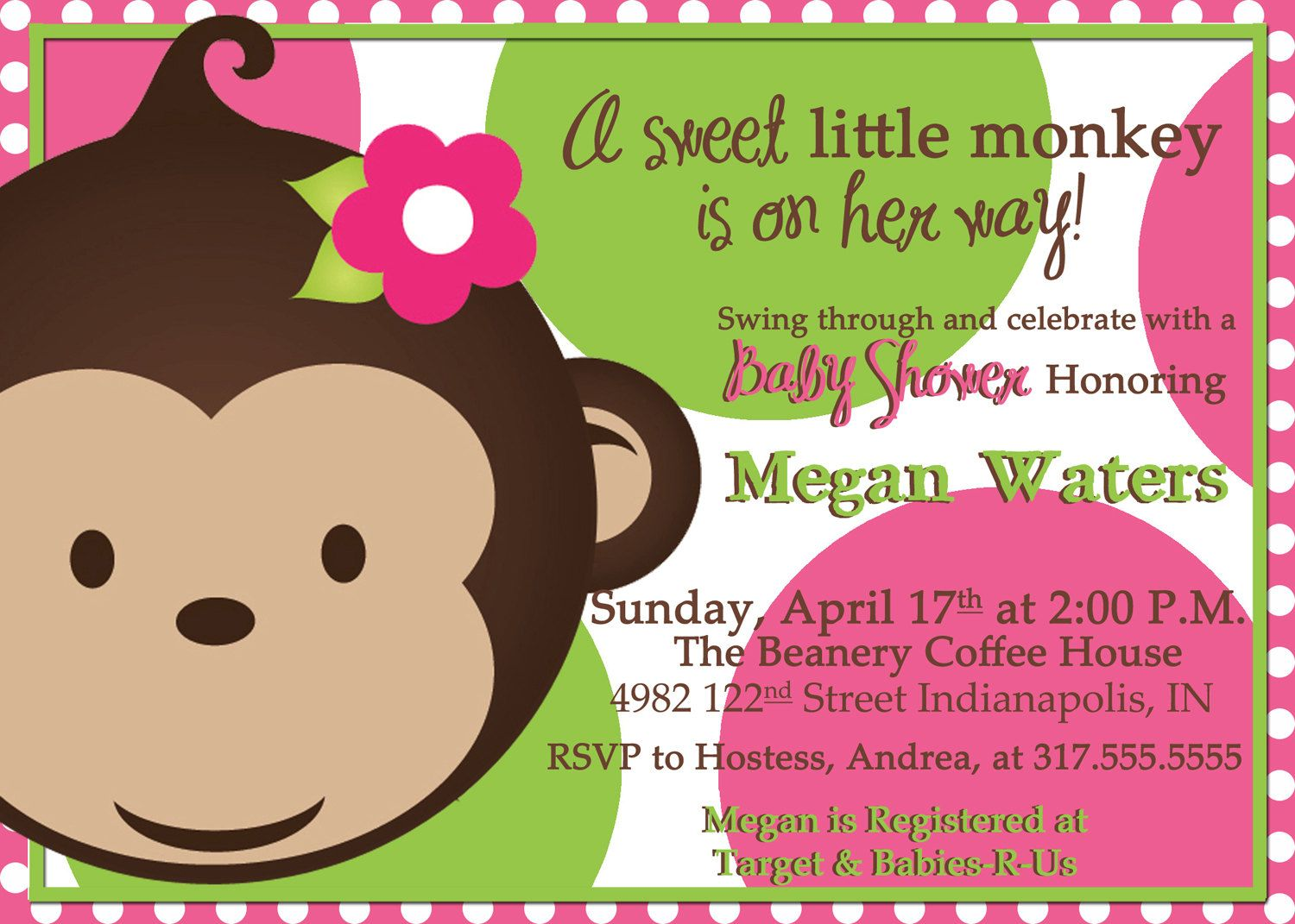 Charming Babyshower Themes Monkeys Baby Shower Invitations Girl Monkey