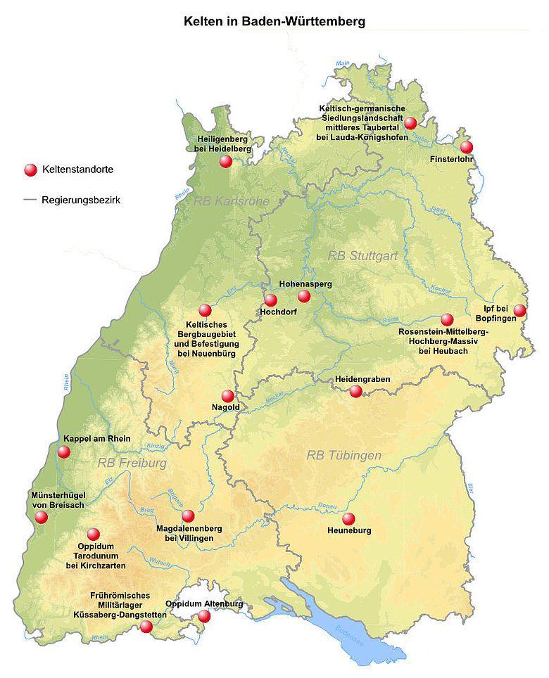 Baden Wurttemberg Und Seine Kelten Map World Map