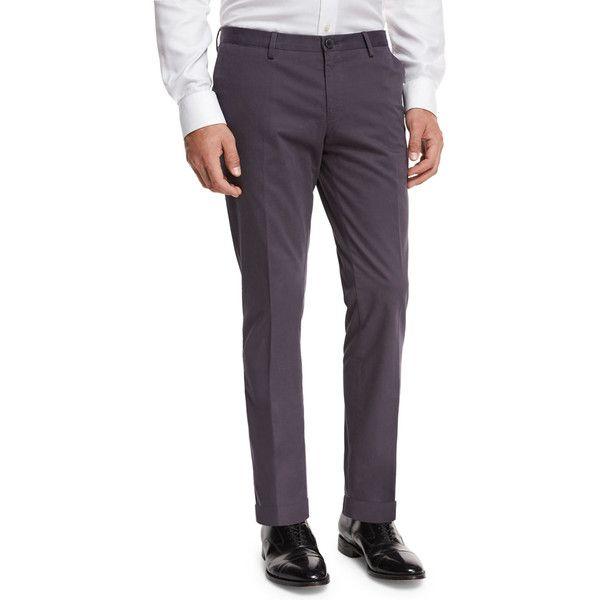 Boss Hugo Boss Slim-Straight Flat-Front Trousers ($195) ❤ liked on Polyvore featuring men's fashion, men's clothing, men's pants, men's dress pants, grey, mens tapered pants, mens slim dress pants, mens slim fit pants, mens chinos pants and mens gray pants