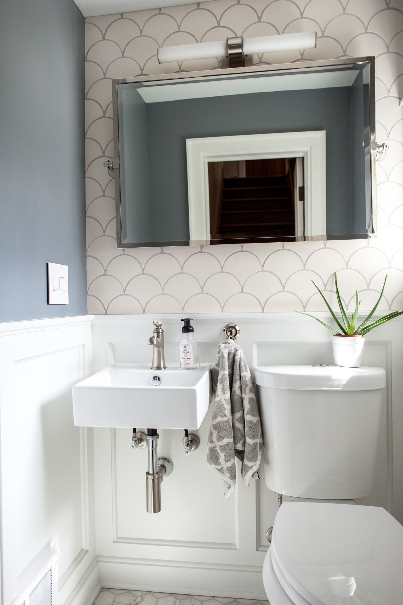 White Modern Morocco Bathroom | Fish scale tile, Modern and Moroccan