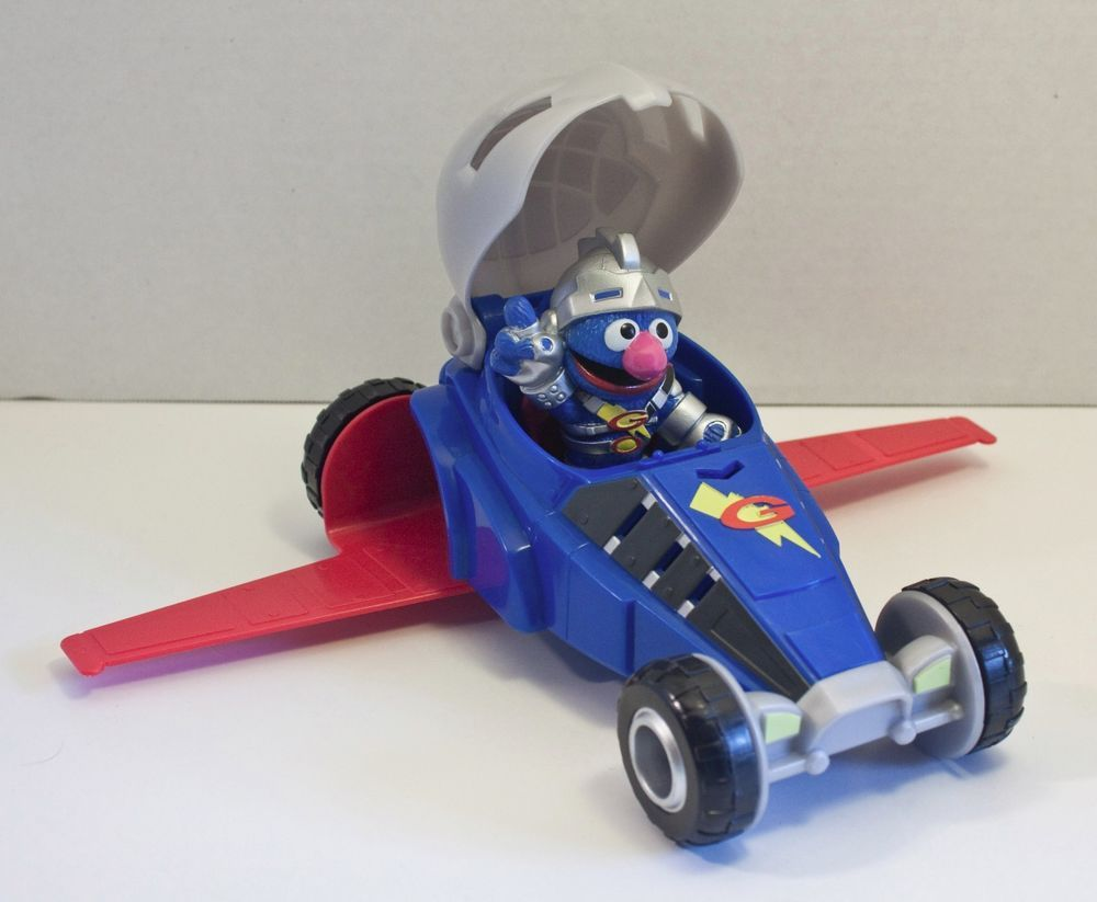 Sesame Street Super Grover 2 0 Vehicle Car Jet Plane Racer Figure Rare Sesame Street Jet Plane Car