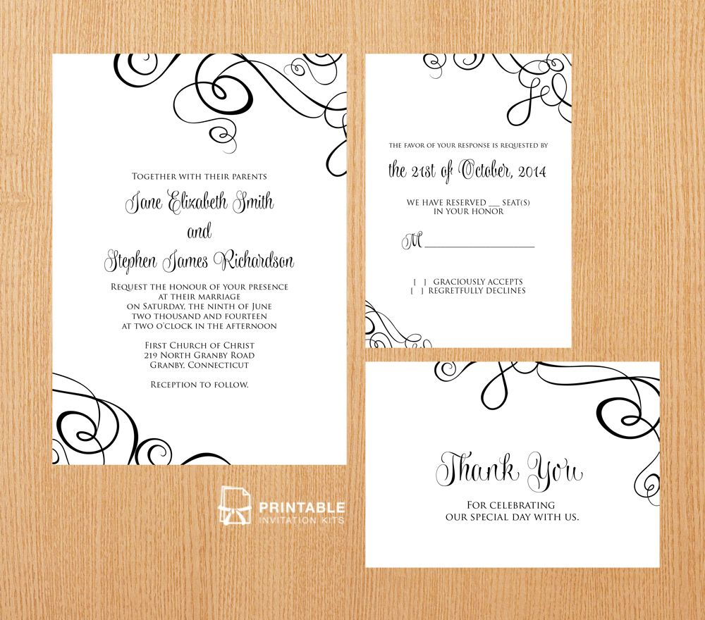 Printable Wedding Invitations: FREE PDF Templates. Easy To Edit And Print At Home