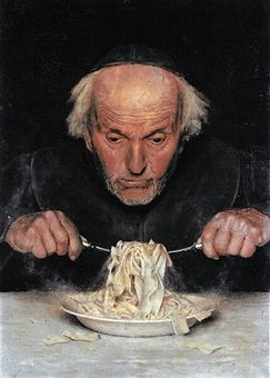 The pasta eater, by unknown artist. Oil on canvas, 19th century. Museo Nazionale delle Paste Alimentari, Rome Italy.