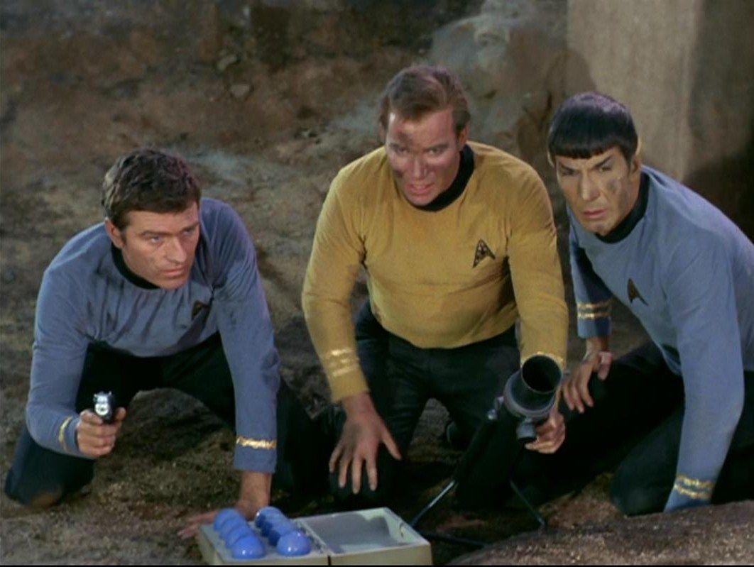 Mister Kelowitz, Captain Kirk, and Mister Spock , Arena
