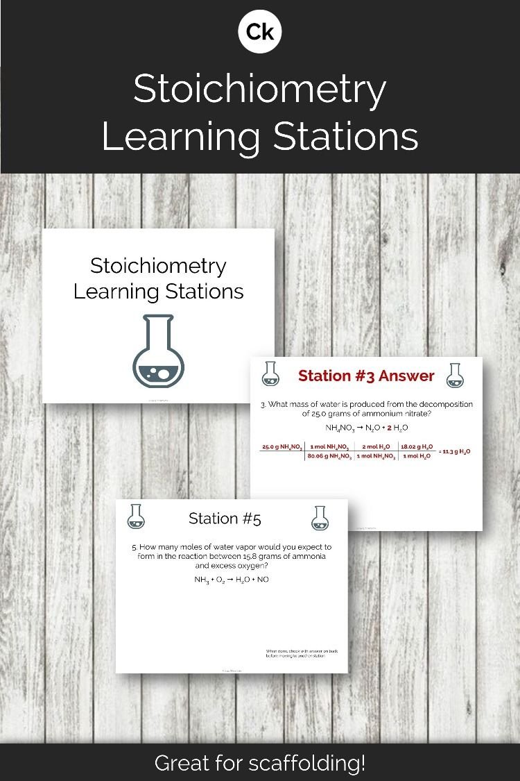 Stoichiometry Learning Stations Learning Stations High School Science Teacher Chemistry Worksheets