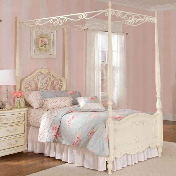 Jessica Mcclintock Romance Twin Poster Bed Antique White With Silver Tippin Krovat S Baldahinom Dlya Devochki Spalnye Garnitury Spalnya S Krovatyu S Baldahinom