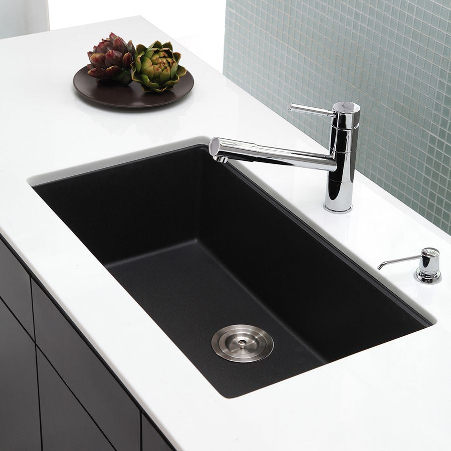 Shop Kraus Kitchen Sink 17.09-in x 30.47-in Black Onyx Single-Basin ...