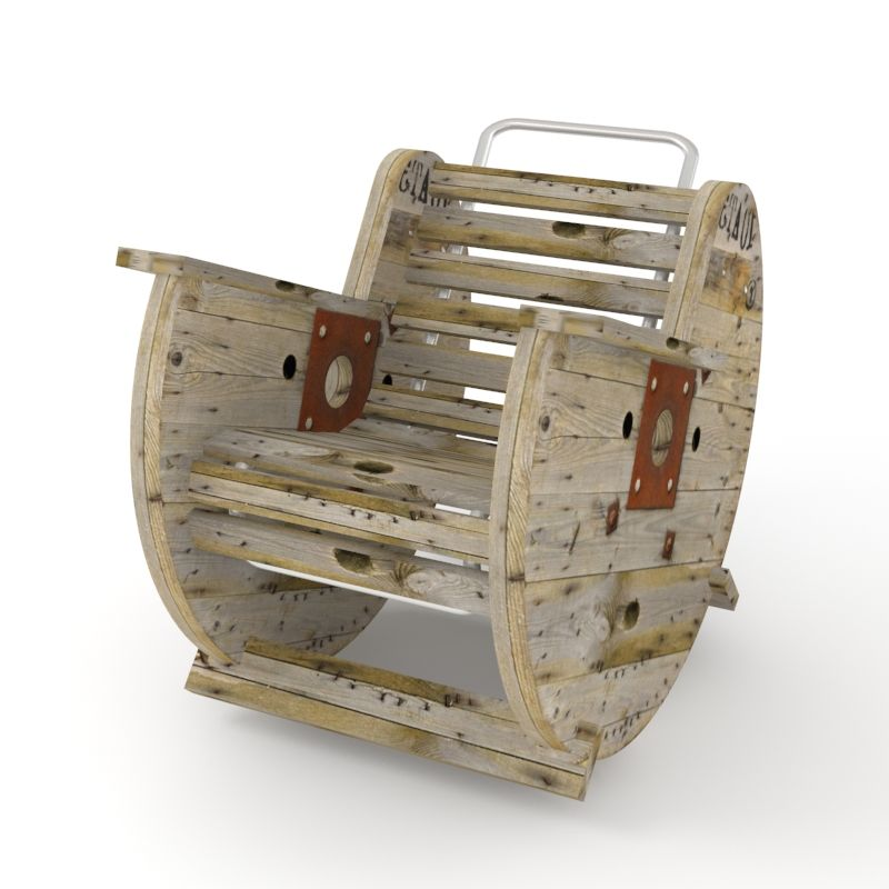 Rocking chair made from an old cable reel my furniture for Wire reel furniture