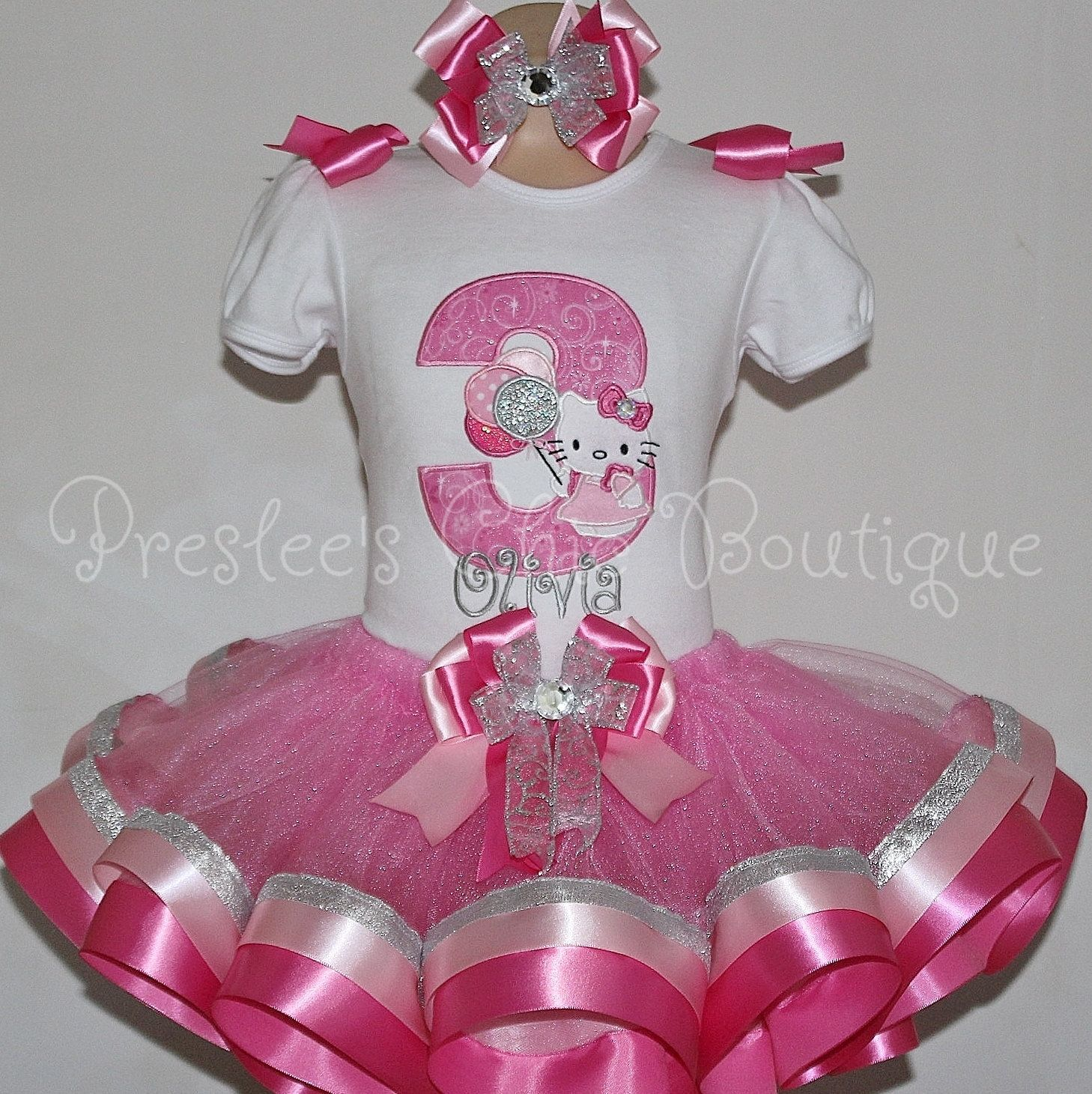 Hello Kitty Birthday tutu set. Perfect for a Hello Kitty themed Birthday party or for pictures:) by Presleeschicboutique on Etsy
