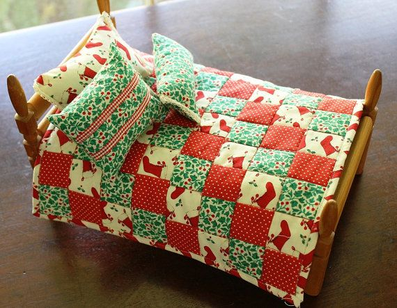 Mini doll patchwork quilt throw pillows Christmas by liveoakhome